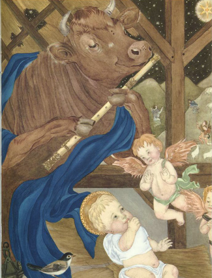 Cow Playing Flute at the Manger