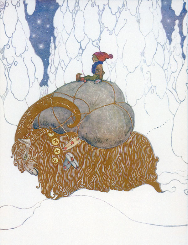 Christmas Goat  - John Bauer Jule Painting  fairy tale illustration. Pinned for later from artsycraftsy.com/bauer/