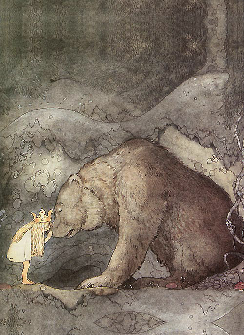 She Kissed the Bear on the Nose  Innocence Hiking  John Bauer illustration