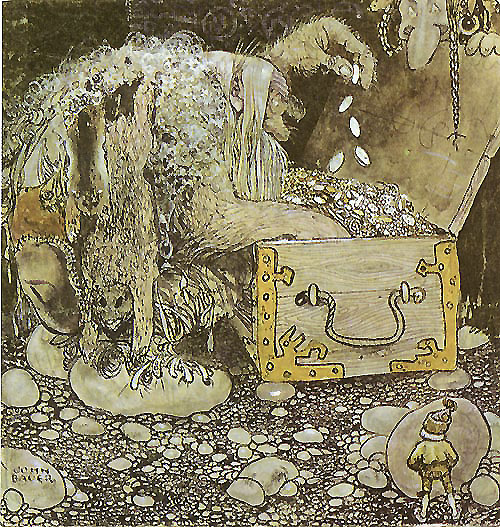 Trolls Counting their Treasure  The Trolls and the Youngest Tomte  John Bauer illustration