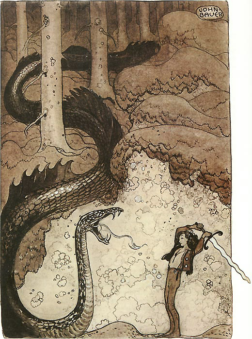 He Gave the Dragon a Mighty Blow -   John Bauer Sagovarld illustration