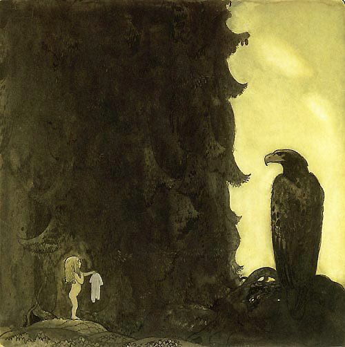 She Gave the Eagle Her Petticoat    John Bauer illustration
