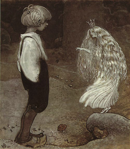 The Frog Became a Beautiful Fairy Girl  The Seven Wishes  John Bauer illustration