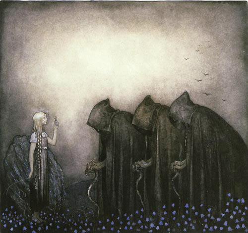 Lena Held Up the Key  The Gold Key  John Bauer illustration