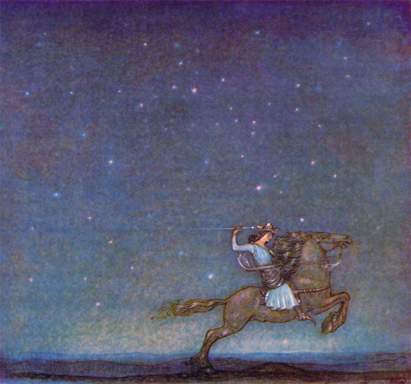 The Prince Riding Out in the Moonlight  The Ring  John Bauer illustration