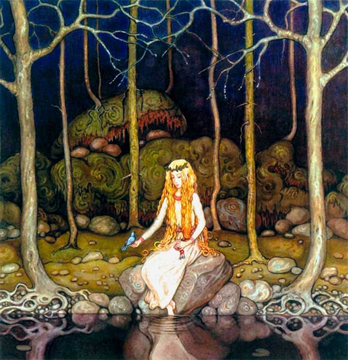 John Bauer, Princess in the Forest art print