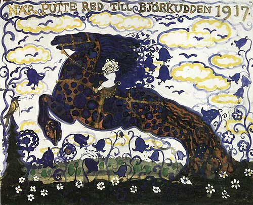 Putte Rode to Bjorkudden   Later Paintings  John Bauer illustration