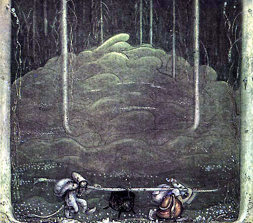 Troll Kettle  When Mother Troll Took in the Kings Washing  John Bauer illustration