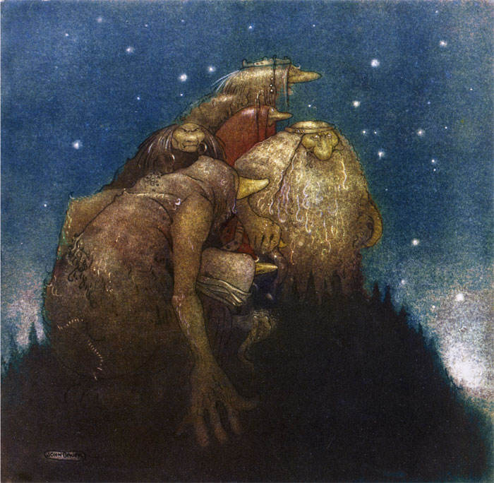 Trolls in Starlight  Bland Tomtar Och Troll  John Bauer illustration