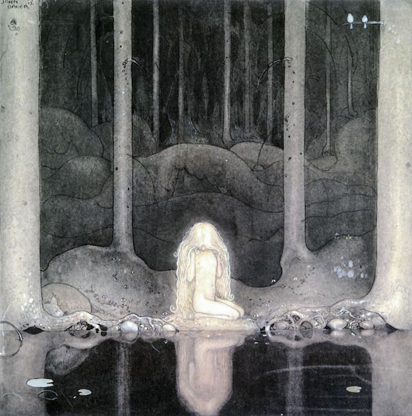 She Stares in the Water Looking for Her Heart  Princess Tuvstarr  John Bauer illustration