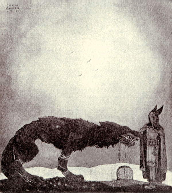 Tyr and Fenrir, Our Fathers' Godsaga,  John Bauer illustration