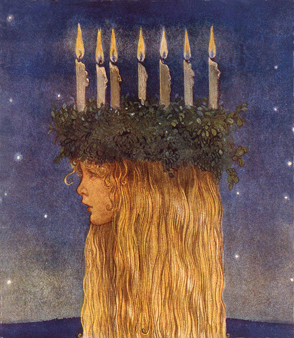 Lucia  stamp design by John Bauer, Swedish artist 1882-1918