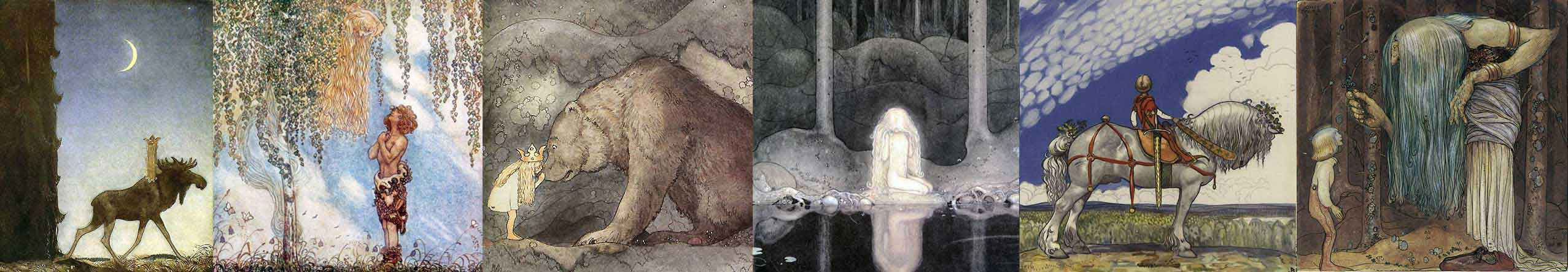 A selection of John Bauer art prints at artsycraftsy.com