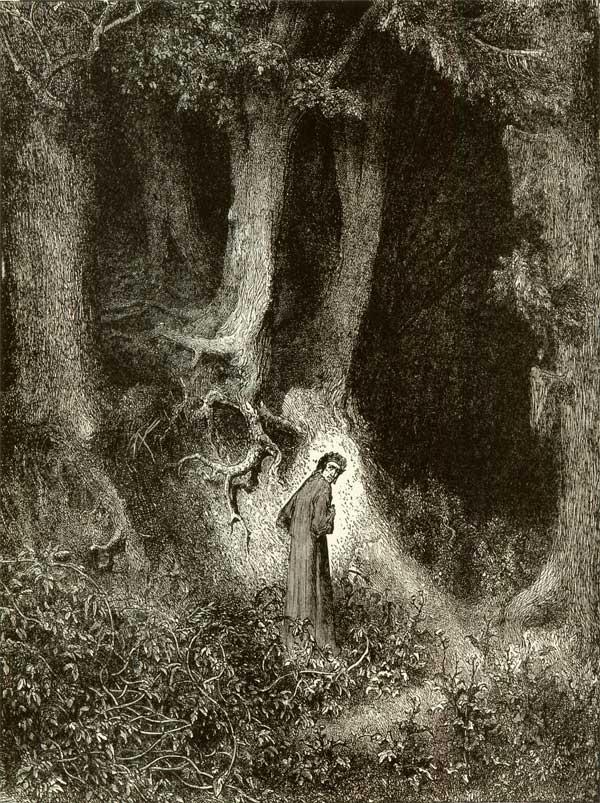 Dante in the Dark Wood, Gustave Dore art print