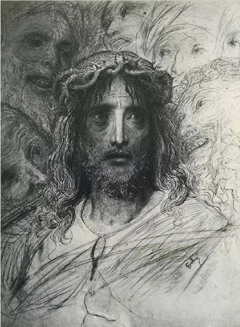 Head of Jesus (detail). Gustave Dore art print