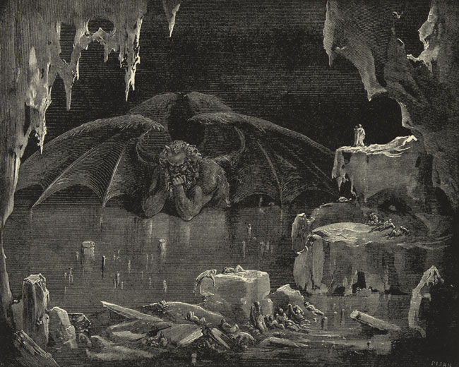Lucifer, King of Hell, Gustave Dore art print