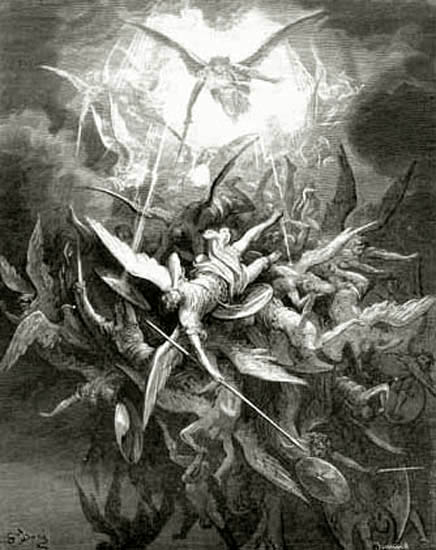 Lucifer Cast Out of Heaven by Angels, Gustave Dore art print