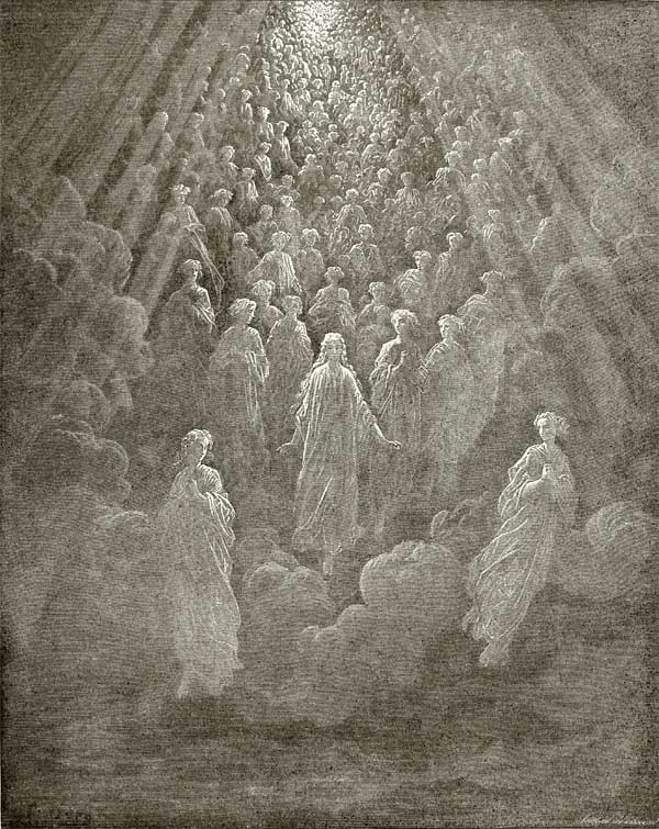 Illustration to Dante's Divine Comedy, Paradiso by Gustave Dor�. Plate 5: Host of Myriad Glowing Souls