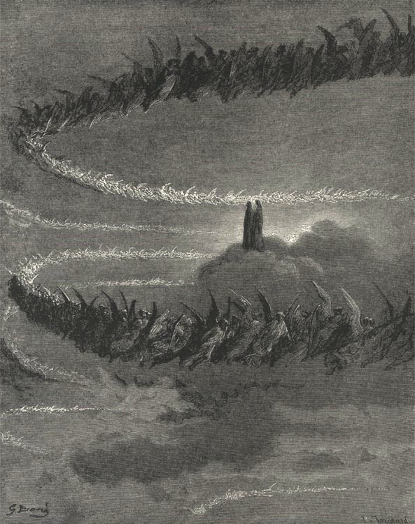 The Blessed Throng Circling to Form Letters, Gustave Dore art print