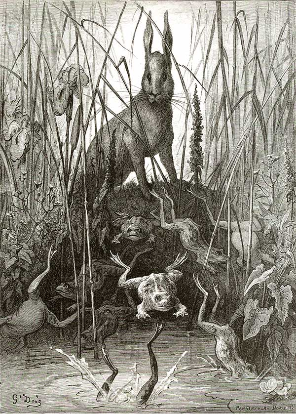 The Fable of the Hare and the Frogs. Gustave Dore art print
