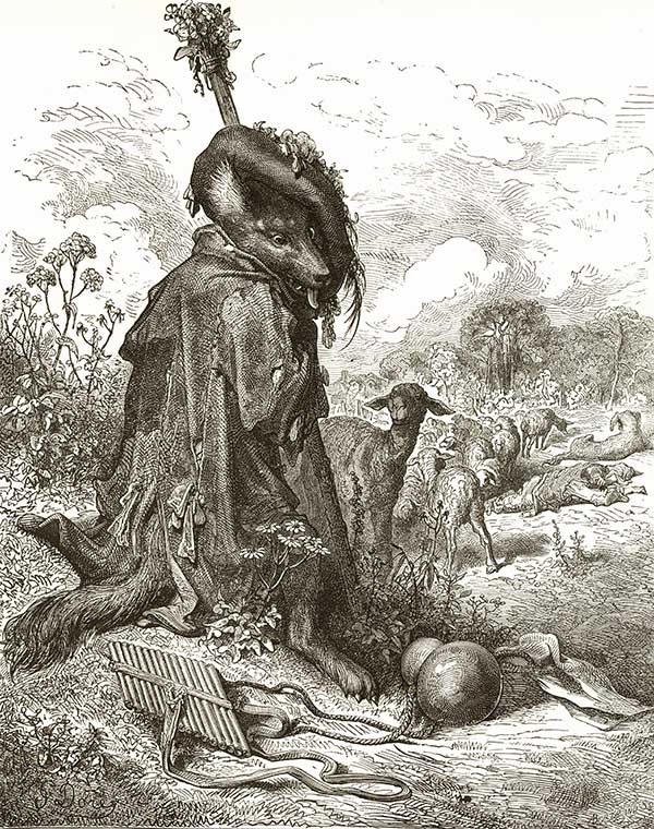 The Fable of the Shepherd Wolf. Gustave Dore art print