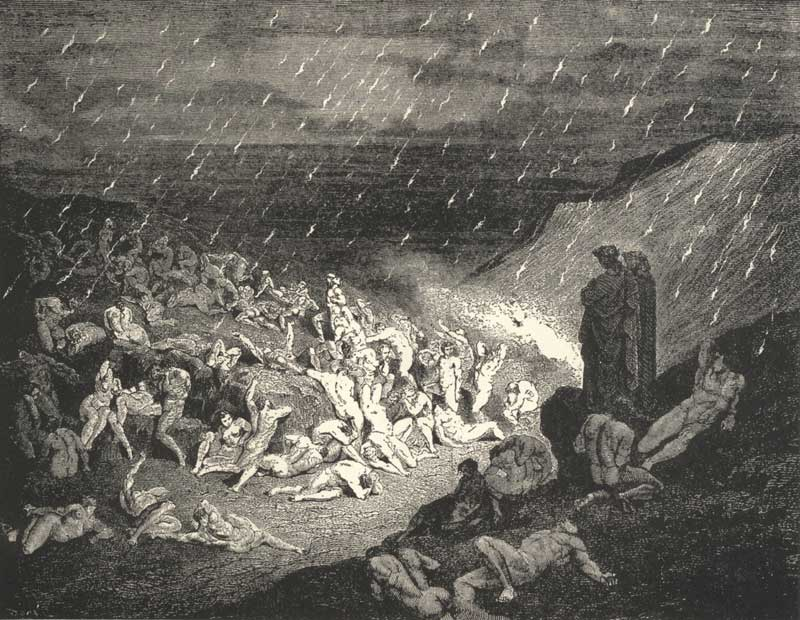 Gustave Dore - Inferno «The Violent Tortured in the Rain of Fire»