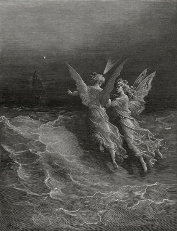 Without wave or wind. Gustave Dore art print