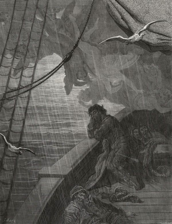 The rain poured down from one black cloud. Gustave Dore art print