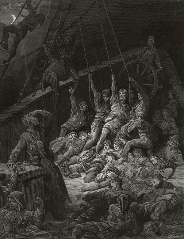 Nor spake, nor moved their eyes. Gustave Dore art print