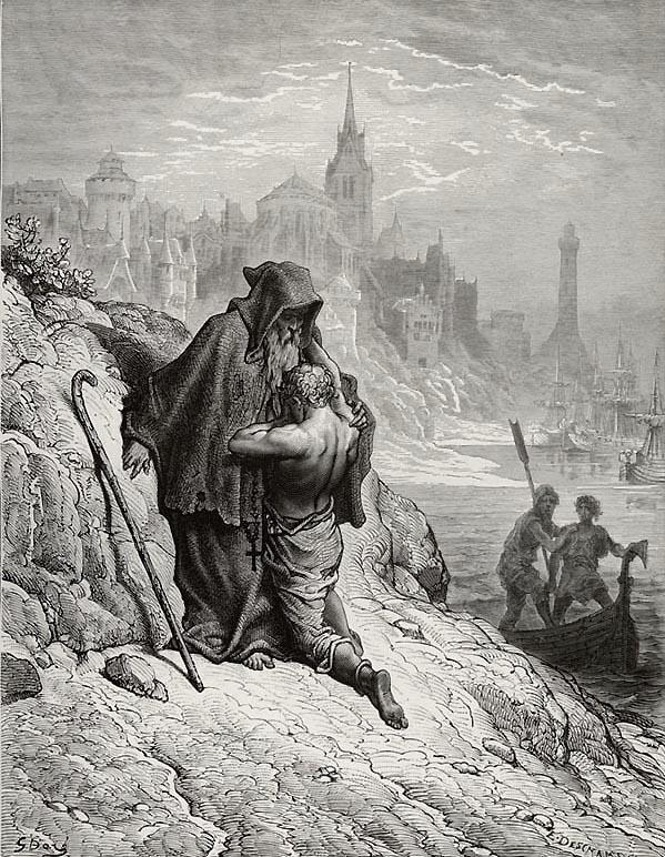 Shrieve me, Holy Man. Gustave Dore art print