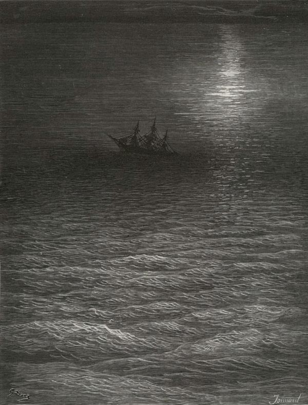 The moving moon. Gustave Dore art print