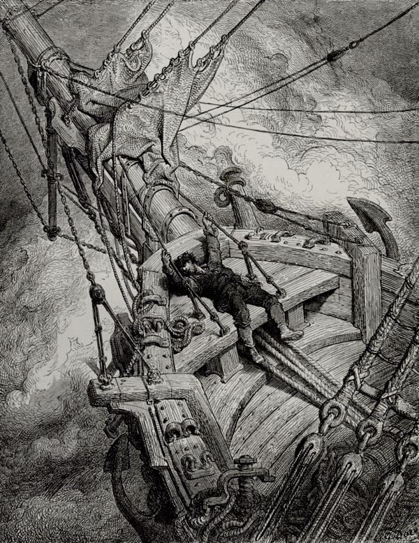 I fell down in a swound - from The Rime of the Ancient Mariner - by Gustave Dore (unknown engraver)