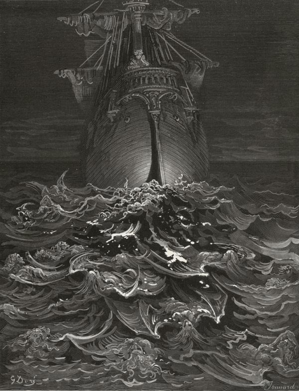 I looked upon the rotting sea, and drew my eyes away - from The Rime of the Ancient Mariner - by Gustave Dore (Jonnard, engraver)