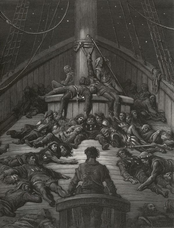 And yet I could not die - from The Rime of the Ancient Mariner - by Gustave Dore (Quesnel, engraver)