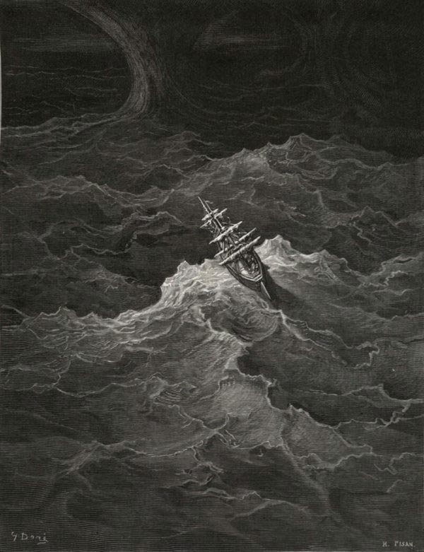 The Ship Fled the Storm - from The Rime of the Ancient Mariner - by Gustave Dore (Pisan, engraver)