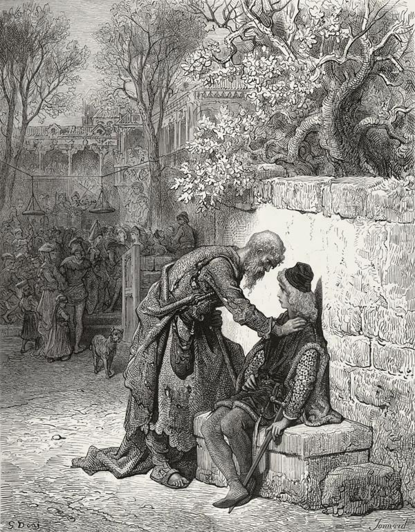 The Wedding Guest - from The Rime of the Ancient Mariner - by Gustave Dore (Jonnard, engraver)