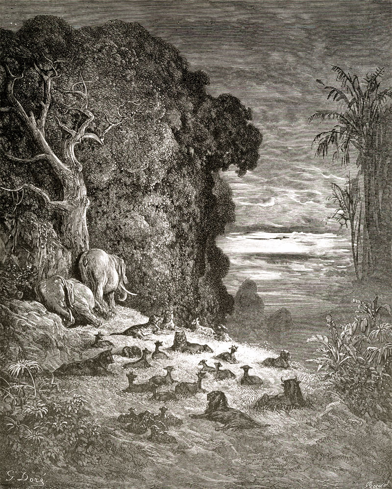 Paradise Lost: The Evening of the Seventh Day. Gustave Dore art print