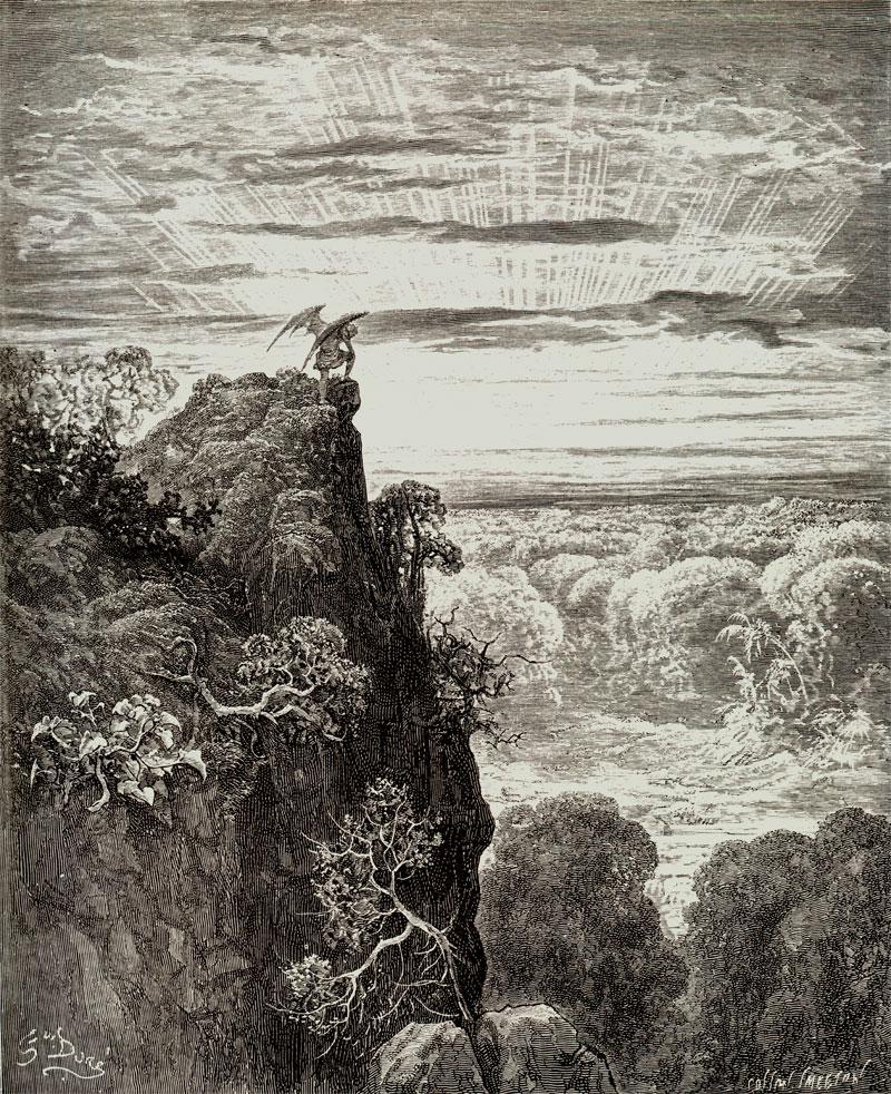 Satan on Mount Nephates, Gustave Dore art print