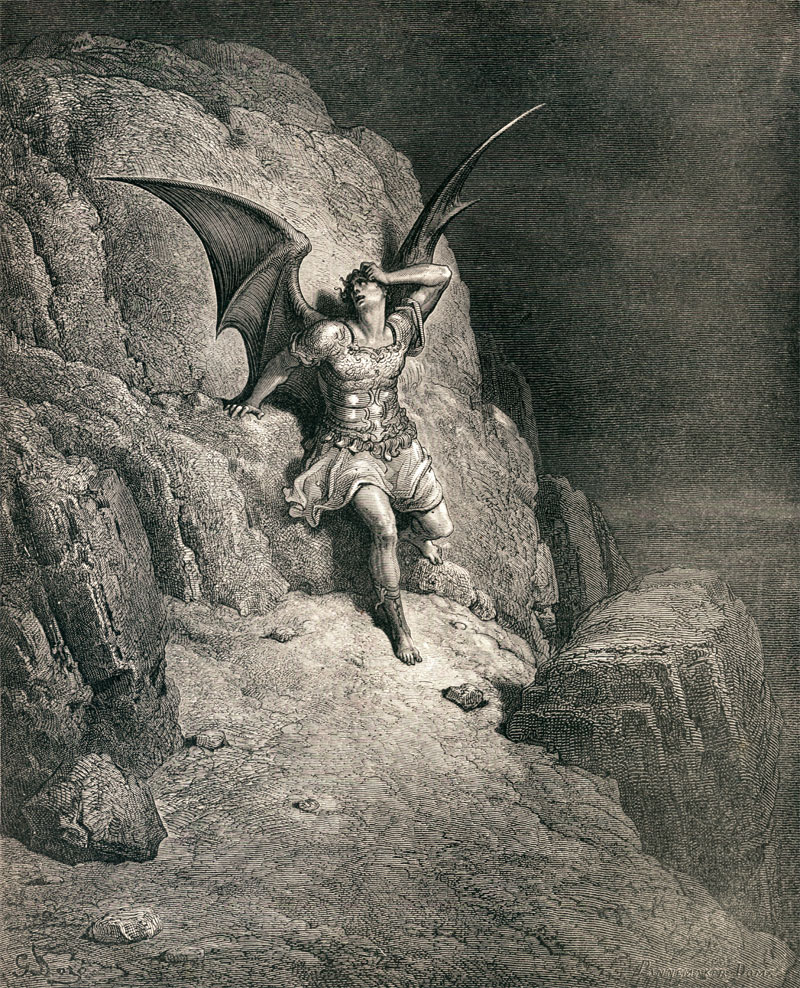 Gustave Dore illustration to Paradise Lost by John Milton: Me Miserable! Which Way Shall I Fly?