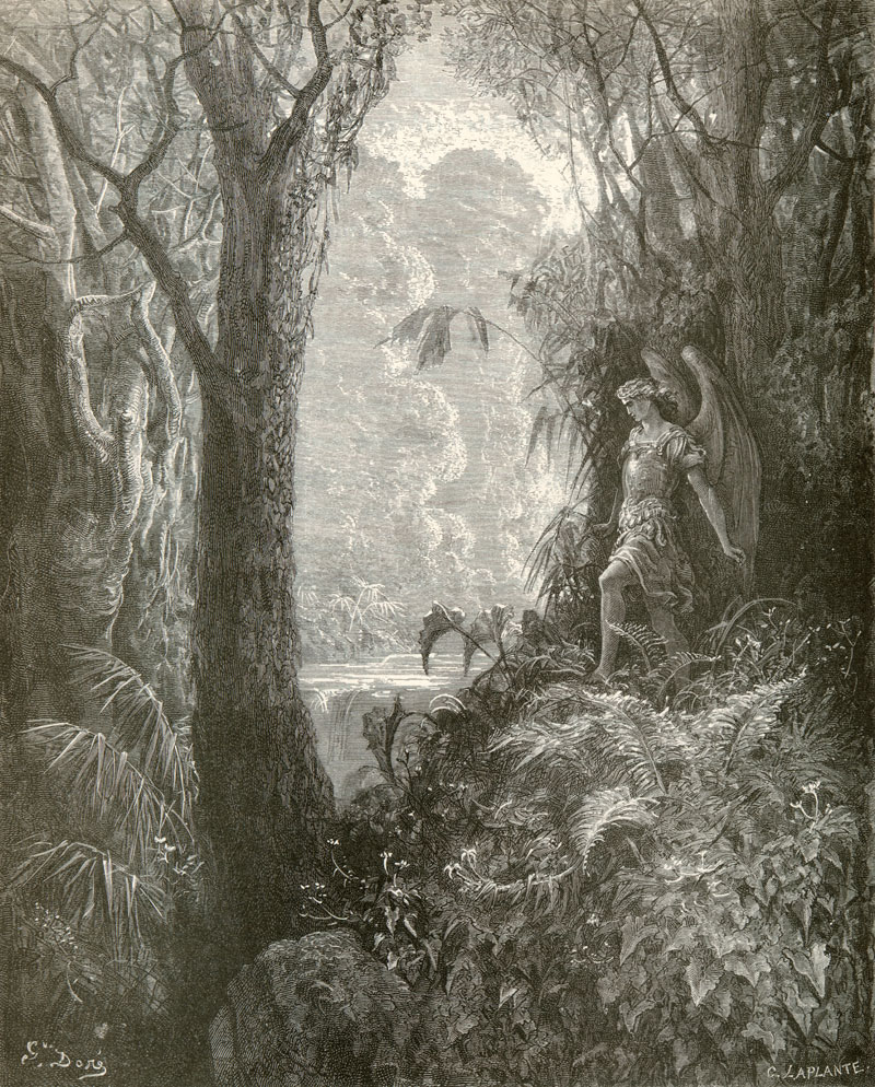 Angel Walking in the Garden, Gustave Dore art print