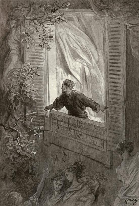 Edgar Allan Poe, The Raven and Other Poems: Open here I flung the shutter. Gustave Dore art print