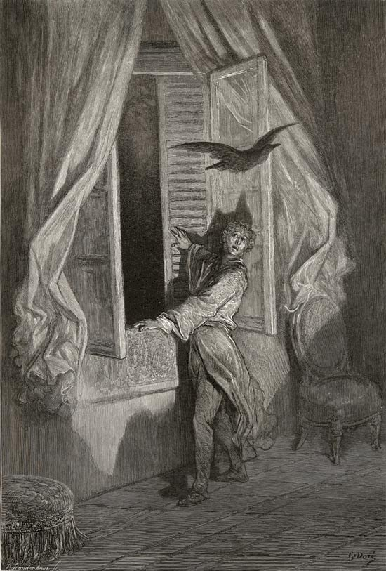 Edgar Allan Poe, The Raven and Other Poems: Not the least obeisance made he. Gustave Dore art print