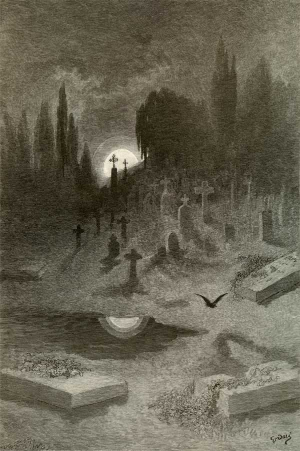 Wandering from the Nightly Shore. Edgar Allan Poe, The Raven and Other Poems. Gustave Dore art print