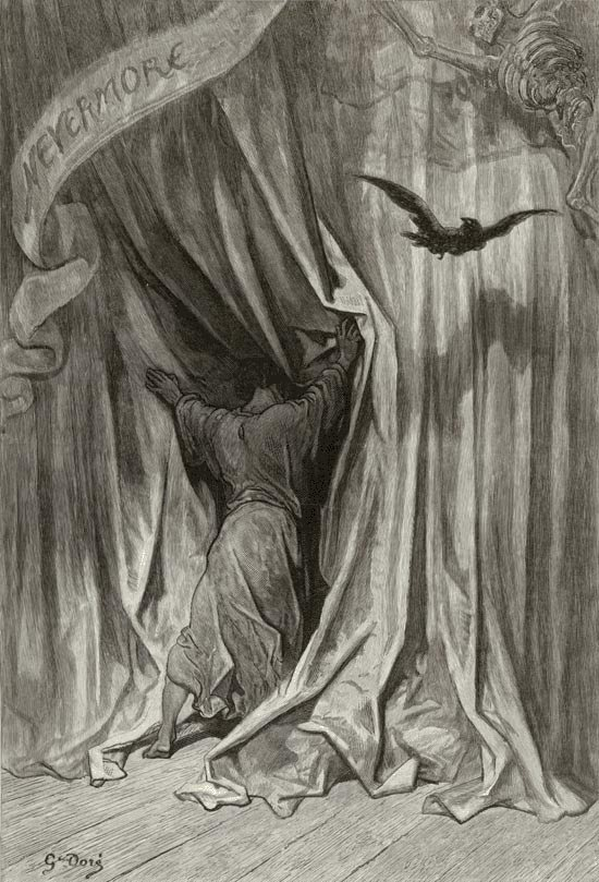 Edgar Allan Poe, The Raven and Other Poems: Nevermore! Gustave Dore art print