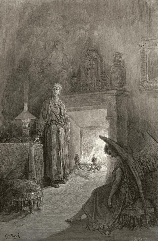 : It was in the bleak December. Edgar Allan Poe, The Raven and Other Poems. Gustave Dore art print