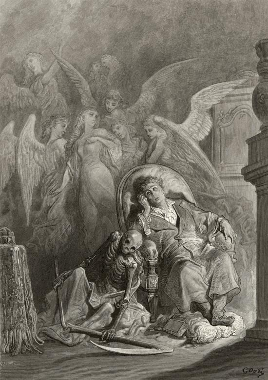 : Vainly I had sought to borrow. Edgar Allan Poe, The Raven and Other Poems. Gustave Dore art print