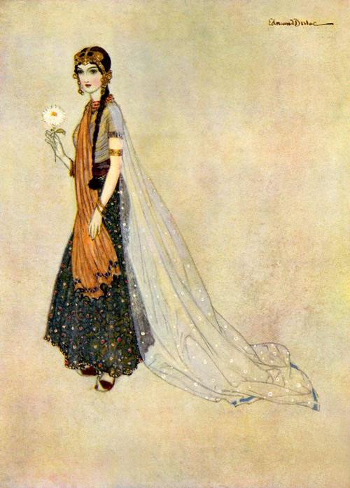 In the Old Testament (Genesis, Chapter 41), Asenath was an Egyptian woman given to Joseph to be his wife. Illustration to Edmund Dulac's Picture Book for the Red Cross -  by Edmund Dulac