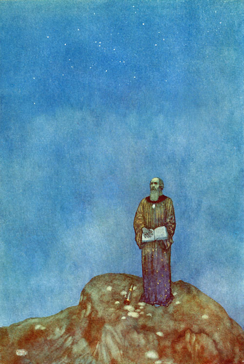 Prospero: And by my prescience I find my zenith doth depend upon a most auspicious star. Illustration to The Tempest -  by Edmund Dulac
