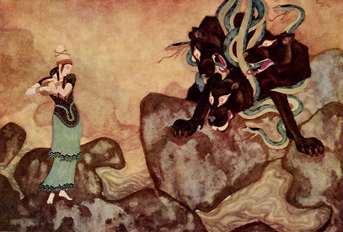Cerberus, the Black Dog who guardes the gates of Hades. Edmund Dulac's Picture Book for the Red Cross
