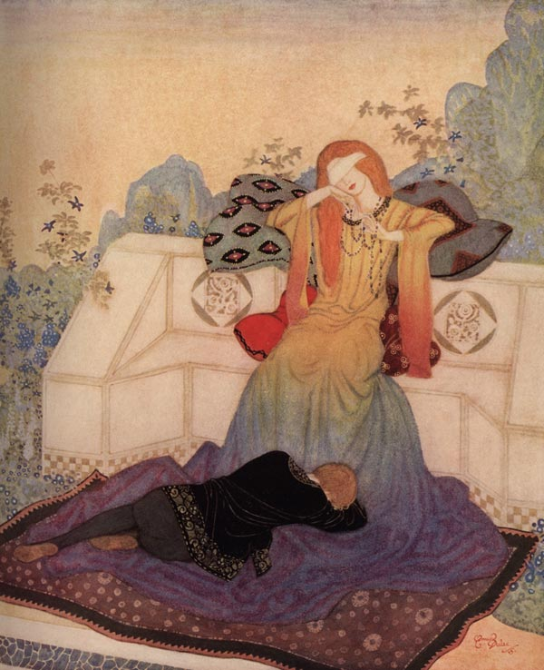The Woman He Could Not Leave. Illustration to The Dreamer of Dreams by Marie, Queen of Roumania -  by Edmund Dulac